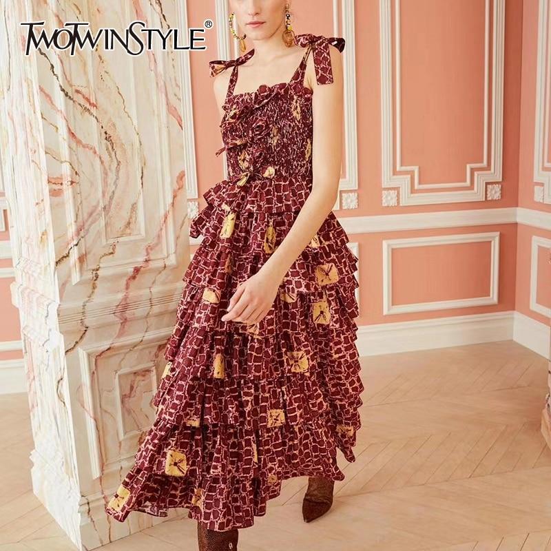 TWOTWINSTYLE Vintage Dress Women Square Collar Sleeveless Spaghetti Strap High Waist Patchwork Ruffle Bow Dresses Female Fashion