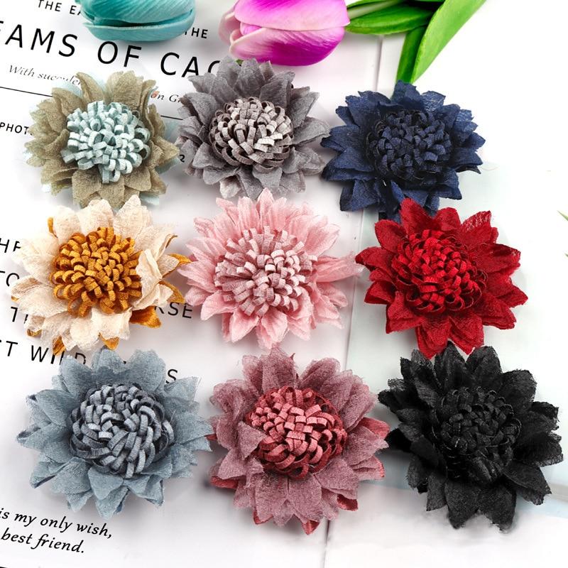 5 Pcs 9 Colors Mini Chiffon Fabric Flower For Wedding Invitation