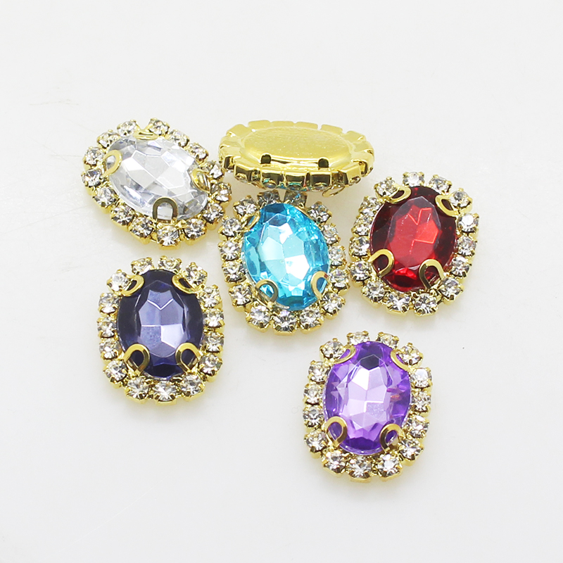Hot Sale 10Pcs/Lot 20*25mm Diy Rhinestone Jewelry Acrylic Accessories For Hand Made New Fashion Shiny Cabochon Setting Supplies