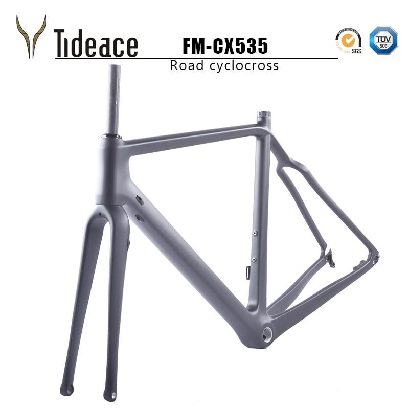 2019 Carbon Gravel Frameset 700*42C Aero Cyclocross Bicycle Carbon Frames Flat Mount Disc Brake Thru Axle 142mm