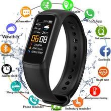 Pulseira inteligente freqüência cardíaca/monitor de pressão arterial pulseira de fitness à prova dwaterproof água sono rastreador banda inteligente relógio para homens