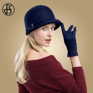 Image 4 - Дамская фетровая шляпка «колокол» FS, шляпа «котелок» из 100% шерсти, с загнутыми полями и декоративным бантом, для церкви, черная, зимняя, 2019