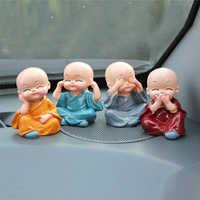 4 stücke Nette Vier Sind Nicht Kleine Mönche Set Statue Sage Kung Fu Buddha Figurine Harz Micro Mönch Handwerk Auto ornamente Wohnkultur Geschenk