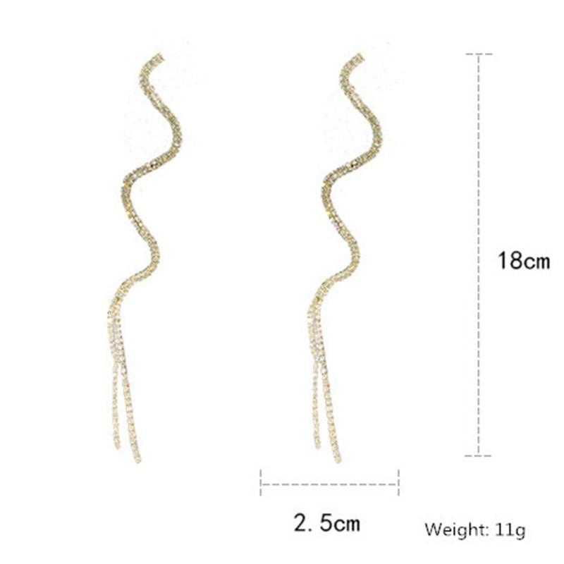 FYUAN Long Tassel Crystal Drop Earring for Women Shiny Gold Silver Color S Shape Rhinestone Dangle Earring Wedding Party Jewelry