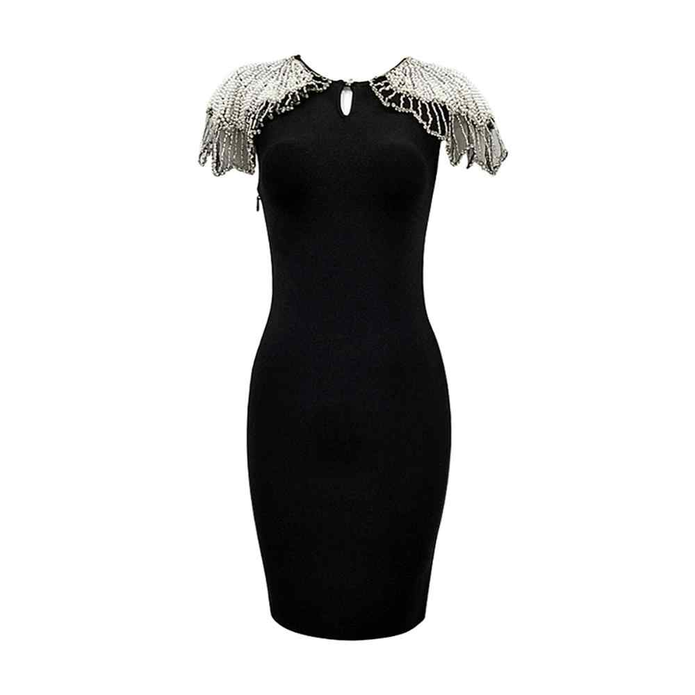 קיץ תחבושת שמלת 2019 נשים סקסיות Bodycon גבוהה באיכות חרוזים ורשת אלגנטי לבן תחבושת שמלת ריון המפלגה סקסית שמלה