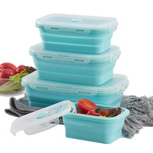 Silicone Collapsible Lunch Box Food Storage Container Microwavable Bento Portable Picnic Camping Rectangle Outdoor