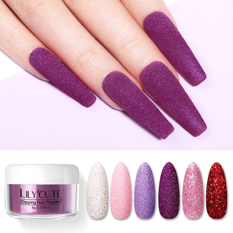 LILYCUTE Matte Solid Color Dipping Nail Powder  Dip Nail Glitter Pigment Dust  Nail Art Decoration 5g