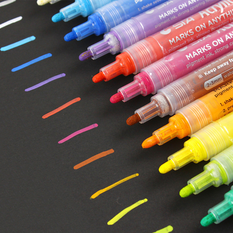 STA 14Colors Acrylic Markers Multifunction Candy Color Highlighter Waterproof Paint Marker Pen Art Set School Supplies