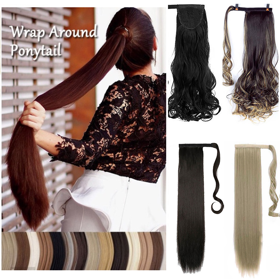 MUMUPI Womens Girls One Piece Elegant Long Straight Wavy Ponytail Wigs Clip In PonyTail Hair Extensions Headwear