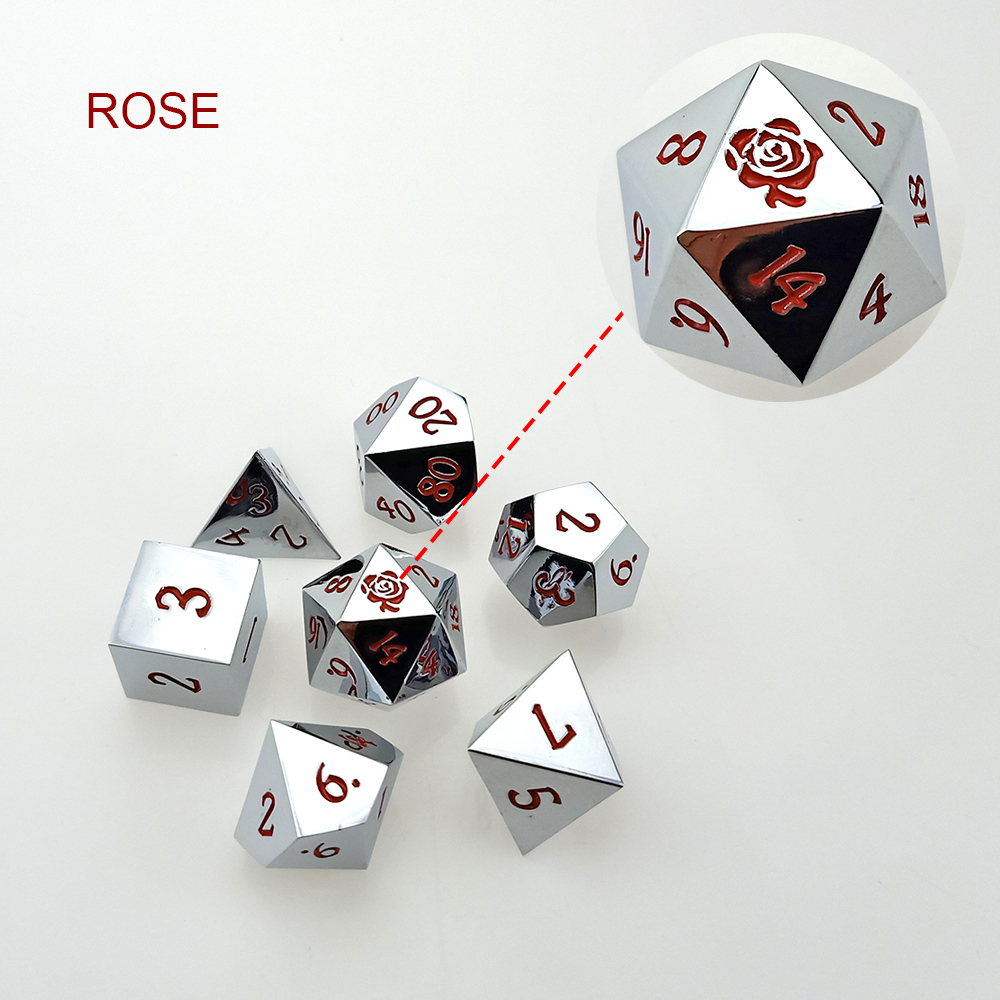 Rollooo Custom Metal Dice Set 24 Colors Collection For RPG DND D&D Roleplaying Games D4 D6 D8 D10 D% D12 D20