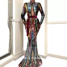 Long Sleeves High Neck Muslim Mermaid Evening Dress 2020 Elegant Lace Caftan Arabic Prom Gowns Party Dresses