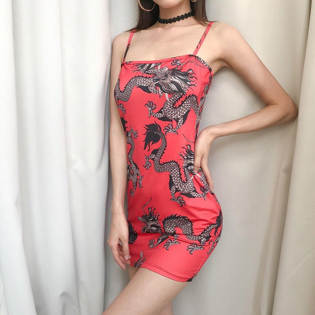 Hf3387cf07043431d950c722ff758ff91E Harajuku Summer women's girls dress Fashion Women Sexy Off Shoulder Dragon Print Strap Casual Night-club Mini party Dress 2019