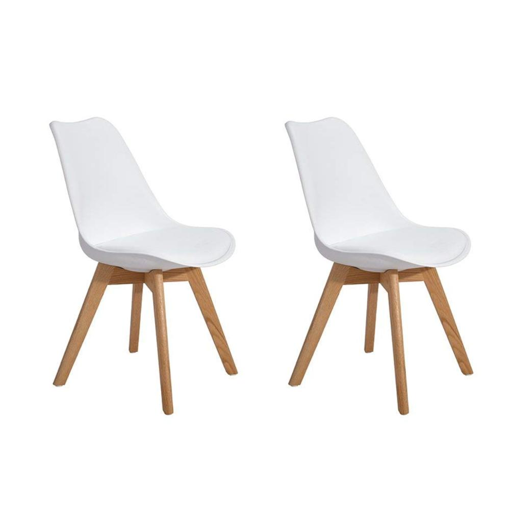EGGREE Set Of 2pcs Tulip Padded Dining Chair With Oak Wood Legs For Dining Room And Bedroom - White - 2-8days EU Warehouse