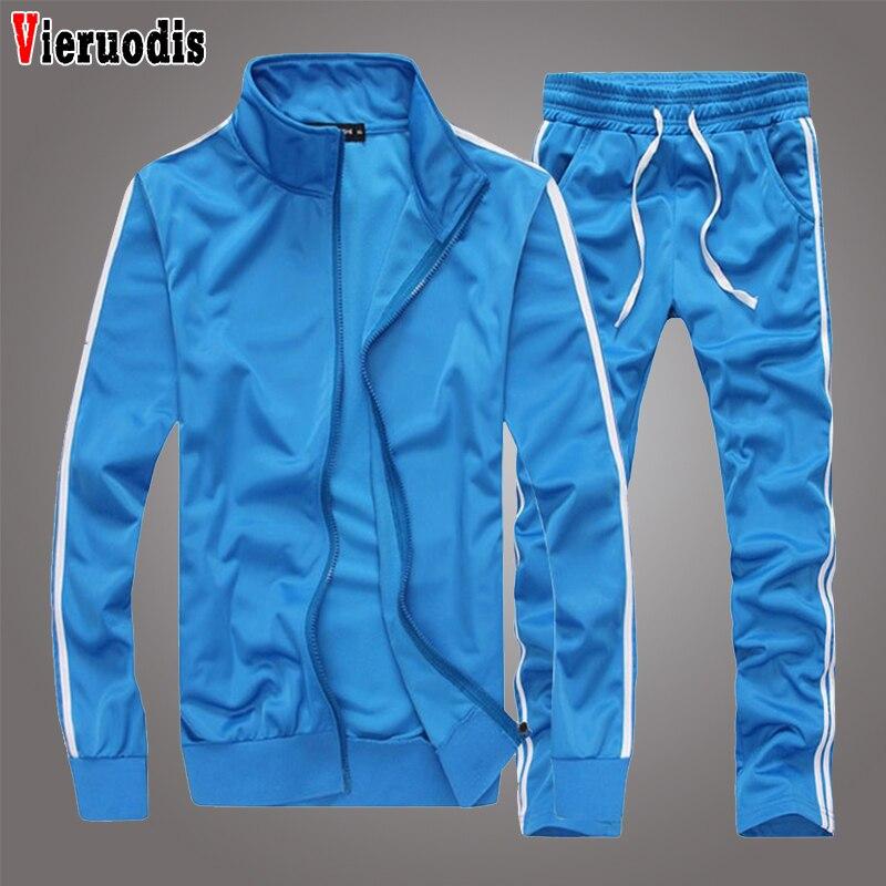 Spring Autumn Men Fashion Sportswear Sets Men Running Sports Fitness Tracksuit Men Sportswear Zipper Hoodie+Pants Training Suit