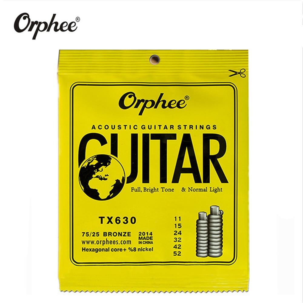 Orphee TX630 011-052 Acoustic Guitar Strings Hexagonal Core+8% Nickel Bronze Bright Tone Extra Light Guitar Accessories