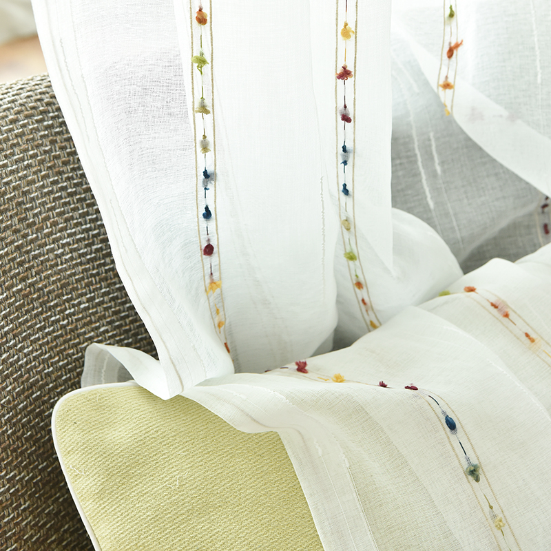 New Natural Embroidered Sheer Curtains for Living Room kids Room Bedroom Elegant Yarn Curtains Embroidery White tulle Curtains
