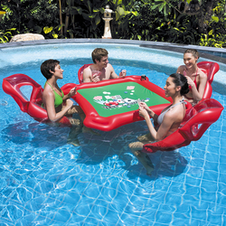 4-Person Island Inflatable Water Group Pool Float Lake/River Floating Lounge Raft Backrest Recliner Floating Sleeping Bed Chair
