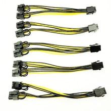 5PCS PCI-E 6-pinos para Dual 6 + 2-pin (6-pin/8- pin) divisor de Cabo de alimentação da Placa Gráfica PCI Express PCIE 6Pin para Dual 8Pin Cabo de Alimentação
