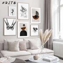 Lienzo abstracto pintura Vintage negro blanco Poster arte nórdico impresión moderna escandinava pared imagen decoración de la sala de estar