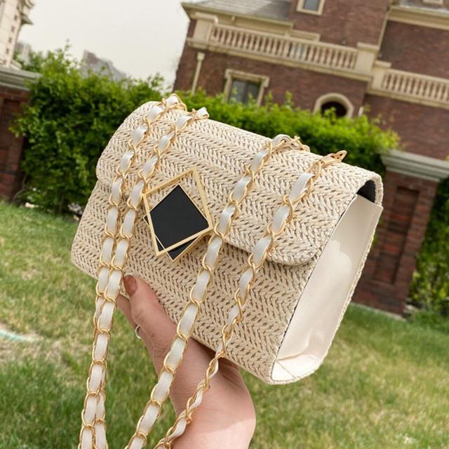 Woven Small Square Crossbody bag 2021 Summer New High-quality Straw Women's Designer Handbag Chain Shoulder Messenger bag Purses
