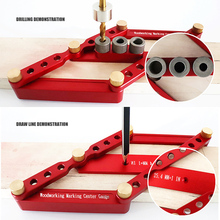 2 in 1 Scriber Line Drawing Marker Pocket Hole Doweling Jig Kit Woodworking Locator Drill Guide Puncher Carpentry Tools