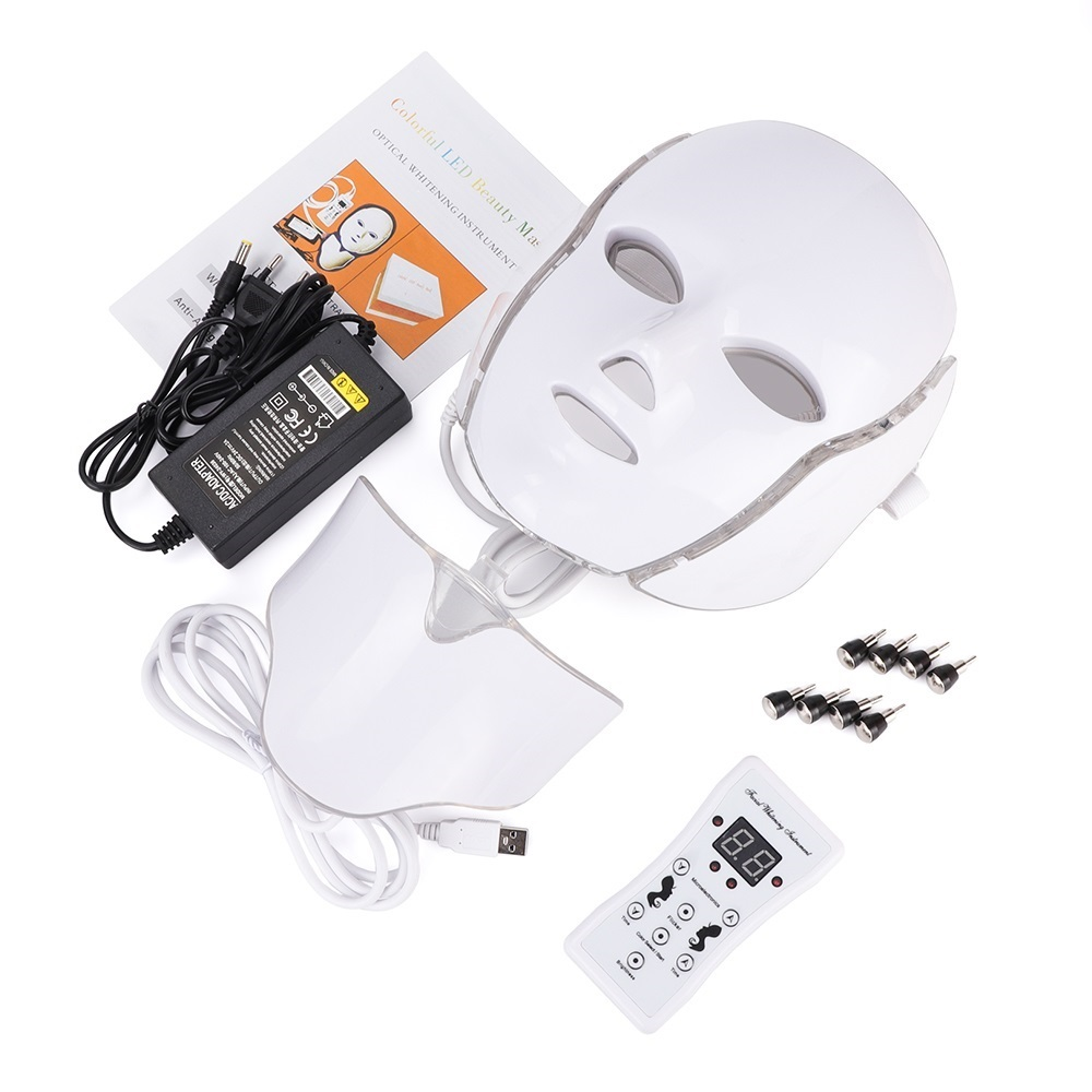 Image 2 - 7 Colors Light LED Facial Mask With Neck Skin Rejuvenation Face Care Treatment Beauty Anti Acne Therapy Whitening Instrument-in Face Skin Care Tools from Beauty & Health