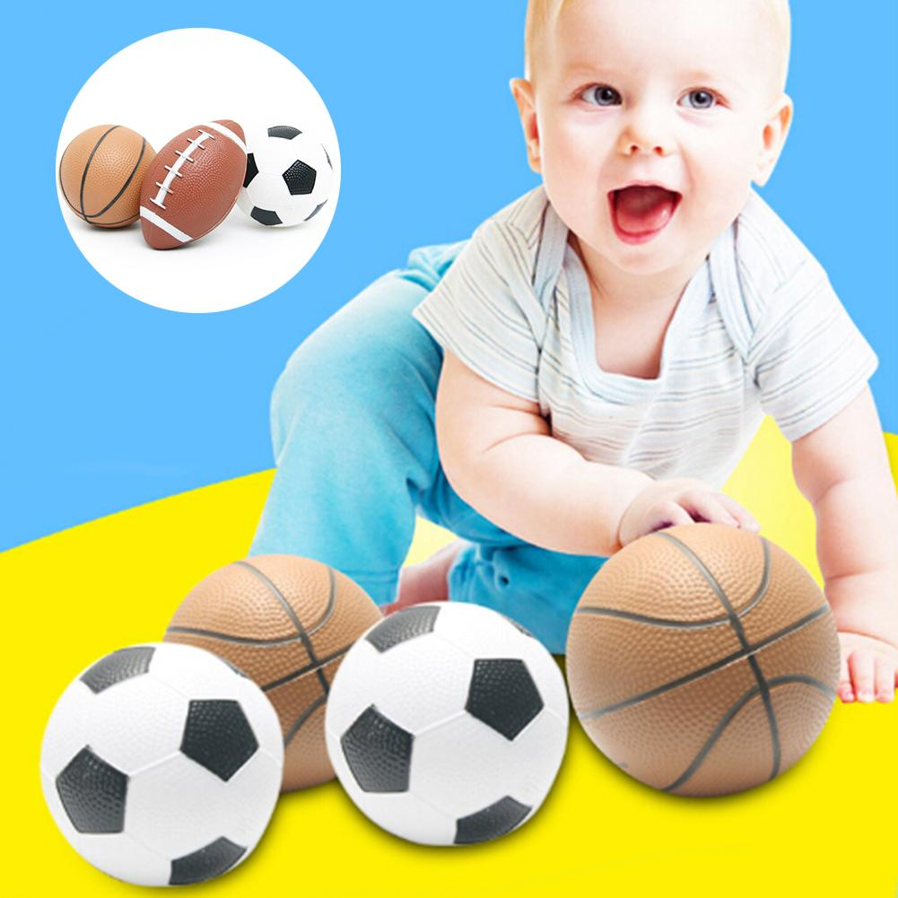 1pc Beach BallsKid Toy Soft Rubber Small Rugby Soccer Basketball Children Outdoor Sport Ball Mini Inflatable Toy KIds