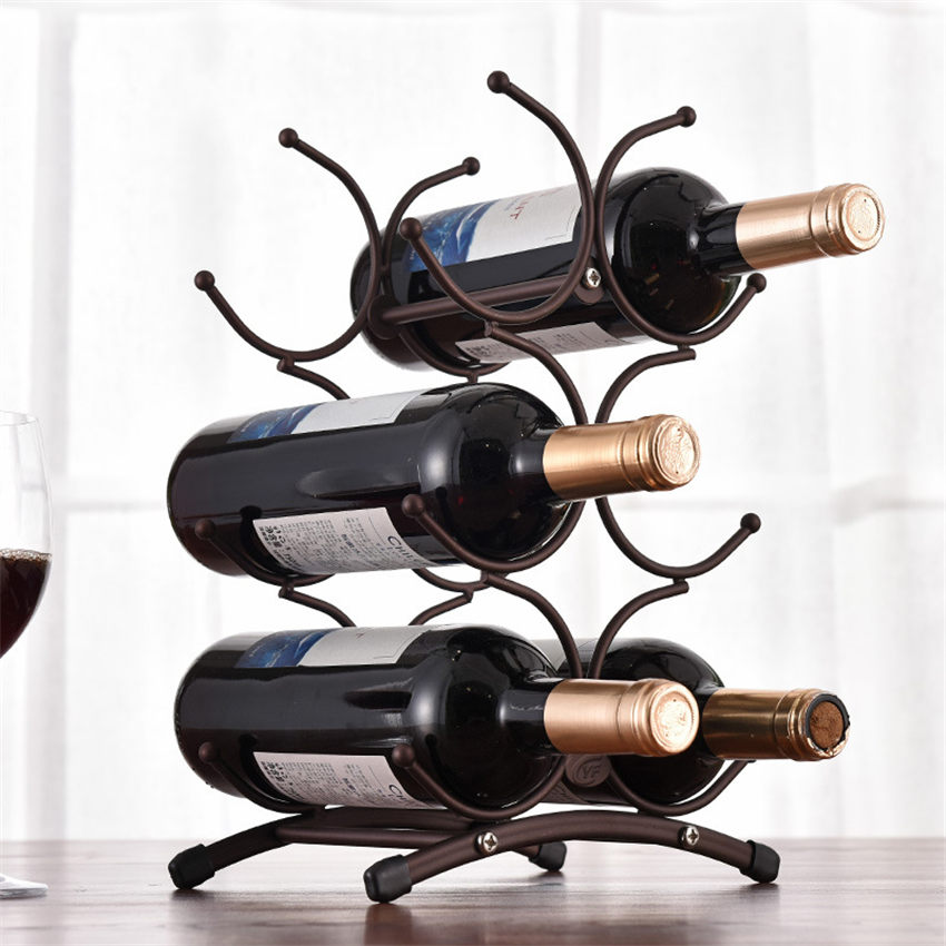 European Style 6 Bottle Wine Rack Metal Freestanding Kitchen Storage Stand Wine Cabinet Grape Wine Shelf Display Bar