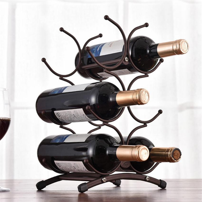 European Style 6 Bottle Wine Rack Metal Freestanding Kitchen Storage Stand Wine Cabinet Grape Wine Shelf Display Bar