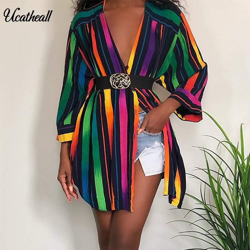 Multicolor Colorful Striped Top Blouse Women Summer Autumn  Casual Long Sleeve Buttons Blouses Female Loose