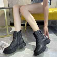 Winter warm and velvet leather Middle boots top layer cowhide new side zipper female thick heel round toe black women's boots