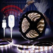 Dolap altı ışığı kablosuz hareket sensörlü ışık Led lamba bant su geçirmez mutfak dolap merdiven gece lambası DC5V diyot şerit