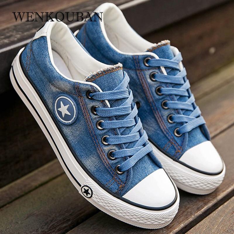 Denim Sneakers Men Vulcanize Shoes Lace Up Canvas Trainers  Men Casual Shoes Anti Slip Sneaker Male Flats Zapatos De HombreMens Vulcanize Shoes   -