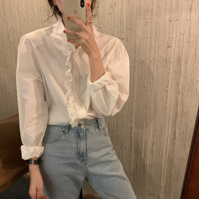 REALEFT Elegant White Women's Blouse Lace Patchwork Lantern Sleeve Buttons Office Shirts Tops Female 2021 New Spring Summer 6