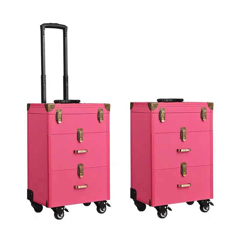 Large makeup trolley suitcase with cosmetic nail tattoo special multi-function luggage door-to-door service high-grade toolbox