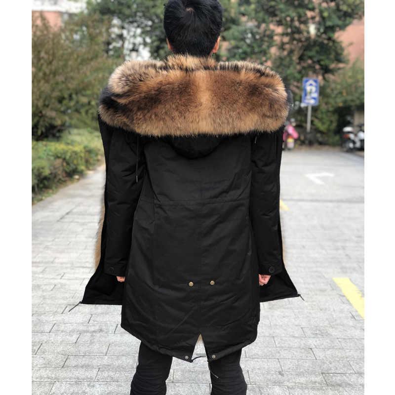 Fandy Lokar אמיתי פרווה Parka גברים חורף מעיל אמיתי דביבון פרווה סלעית מעילי טבע דביבון כלב רירית מעיל גבר אמיתי פרווה מעיל