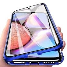 Çift taraflı cam Samsung kılıfı Galaxy A10S durumlarda manyetik metal tampon kapak için Samsung A10S 10s A10 S SM A107F/ DS Coque
