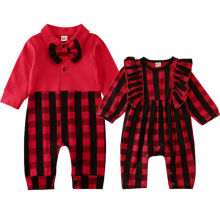 Одинаковые детские комбинезоны для мальчиков и девочек 0-18 месяцев; Рождественский клетчатый комбинезон с длинными рукавами