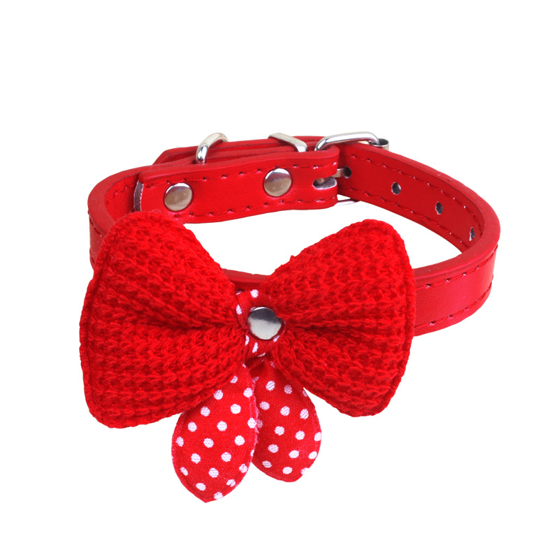 2019 New Style Pet Supplies Medium-small Dogs Dog Cat Bow Pu Yarn Adjustable Traction Butterfly Neck Ring