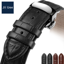 Jii Uee Leather Watch Strap Black Brown For Men and women 18mm 19mm For MIDO Casio Tissot Longines Citizen strap(China)