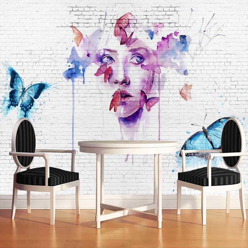 Papel pintado fotográfico personalizado arte abstracto moderno pintado a mano tinta-jet mariposa retrato 3D estéreo blanco pared de ladrillo sala de estar murales