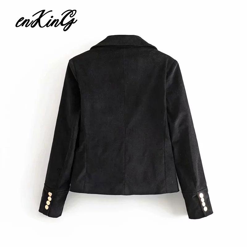 2019 blazer feminino england style elegant velvet double breasted za blazer women blazer mujer women blazers and jackets