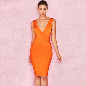 Image 4 - 最新のボディコン包帯ドレスの女性のオレンジvネックのセクシーなナイトクラブセレブイブニングパーティードレス女性vestidos