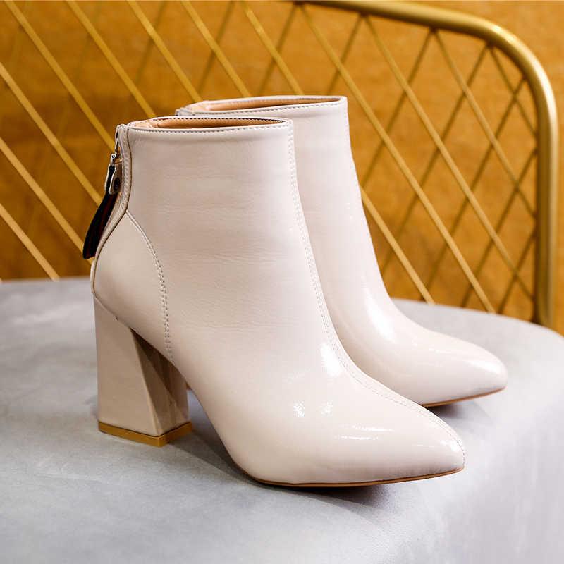 Kış şık kadın yarım çizmeler sivri burun yüksek topuk mavi bayanlar ofis ayakkabı pompaları PU fermuar kısa kürk sıcak çizmeler kadın