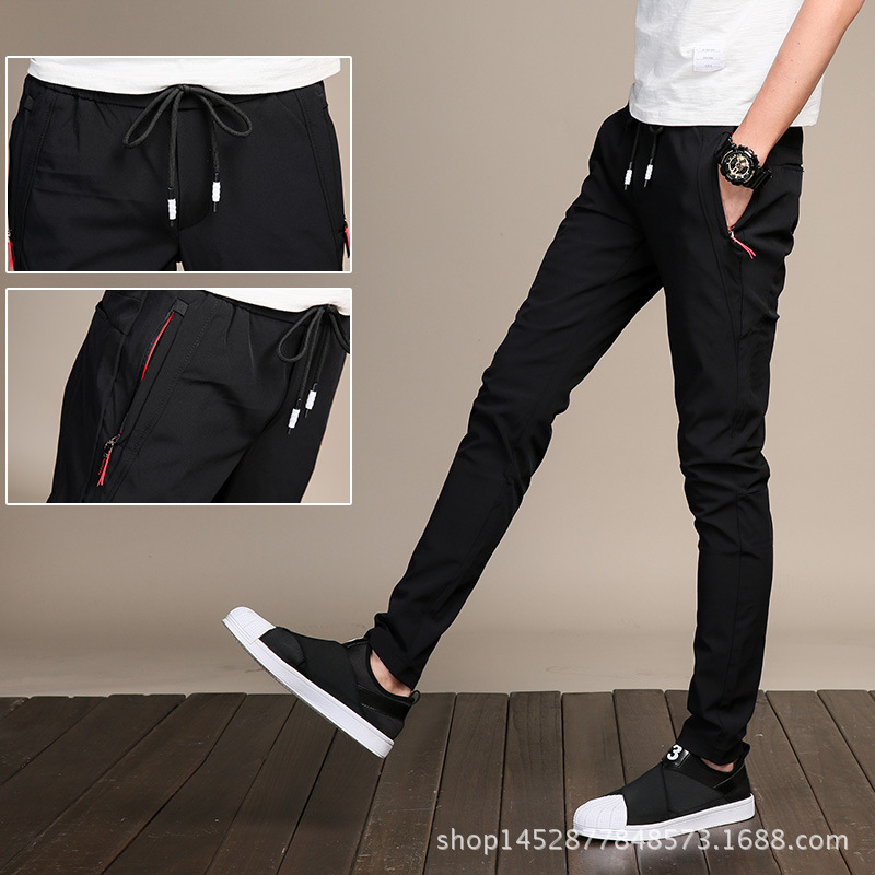 Summer Quick-Dry Casual Sports Pants Men's Korean-style Students Elastic Waist Lace-up Slim Fit Teenager MEN'S Casual Pants
