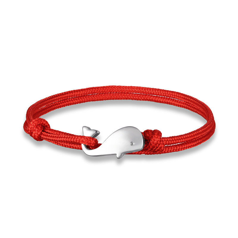 MKENDN Summer style Camping Parachute cord Tiny Whale Tail Bracelet Men Women 550 Paracord Jewelry Wrap Metal Hooks Friendship
