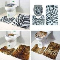 Коврик для ванной с леопардовым принтом тигра коврик для туалета с животным принтом 3 шт./компл. прочный нескользящий декор для ванной комна...