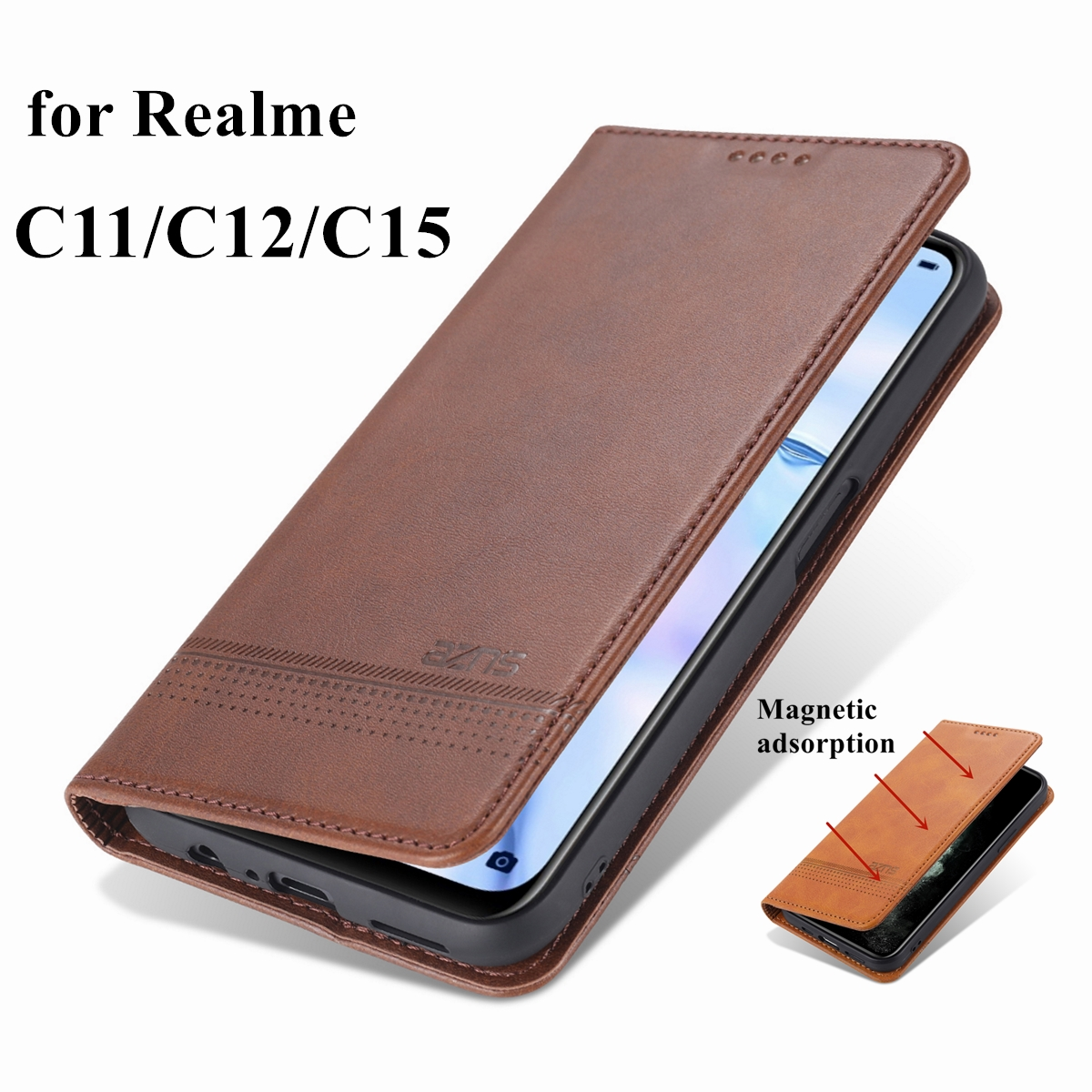 Deluxe magnetic adsorption leather case for OPPO Realme C15 C12 C11 flip cover wallet protective case capa fundas