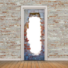 2pcs Creative Wall Sticker DIY Brick Hole Mural Poster Home Decoration PVC  3D Door Stickers