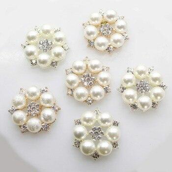 10 sztuk/zestaw dwukolorowe 25mm kwiatowe przyciski ze strasu guzik perłowy dekoracje ślubne Diy stop diamentowa kokarda z kryształami akcesoria